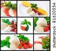 Italian food: spaghetti, mozzarella, cherry tomatoes and basil - stock photo