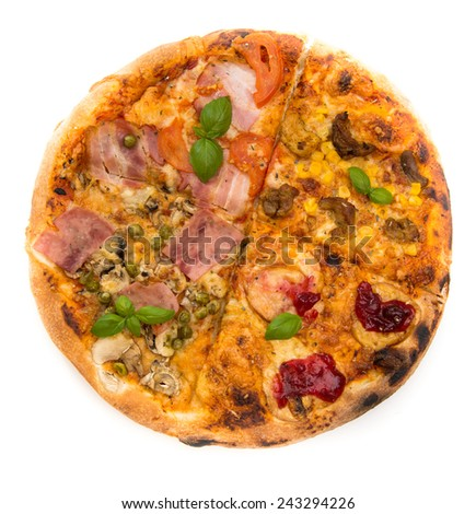 Italian Four Seasons Pizza isolated over a white background - stock photo
