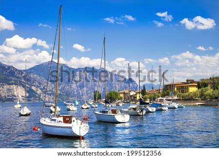 Italian holidays - scenic lago di Garda - stock photo
