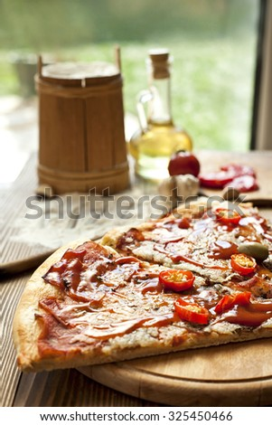 Italian homemade pizza - stock photo