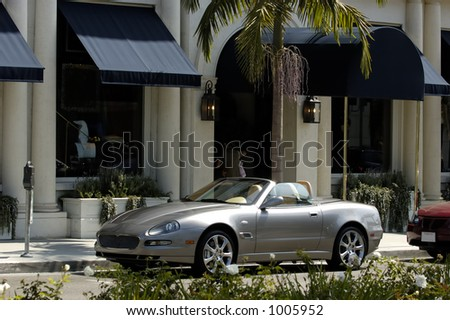 Italian import car parked on Rodeo Drive California