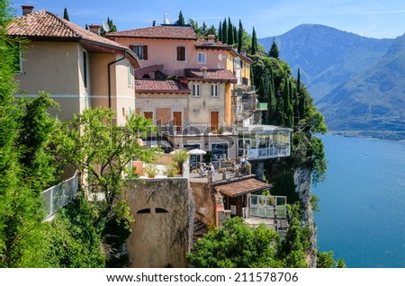 Italian lake houses with stunning view on Lake Garda, Pieve, Tremosine, Lombardy, Italy - stock photo