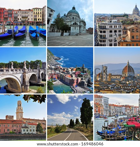 italian landmarks - travel collage - stock photo
