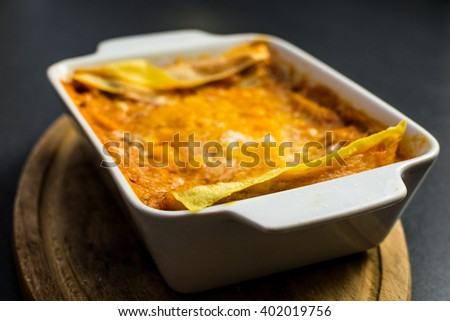 Italian lasagna in a bowl
