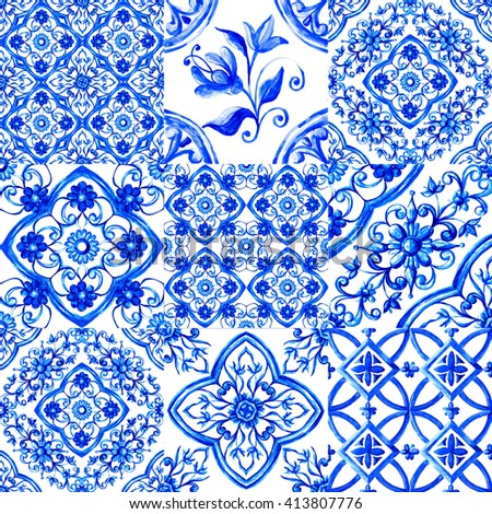 Italian majolica,watercolor illustration Italian majolica decoration on ceramic tiles, in blue colors - stock photo