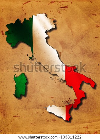 Italian map with flag over old paper - stock photo