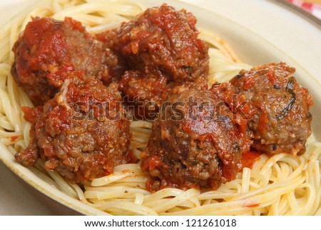 Italian meatballs in a spicy tomato sauce, served with linguine pasta.