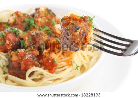 Italian meatballs with spaghetti. - stock photo