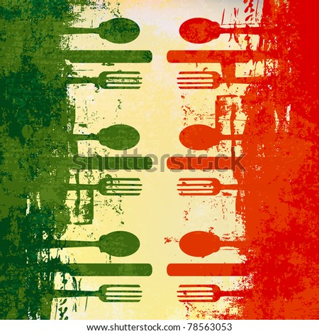 Italian Menu template over a flag of Italy - stock photo