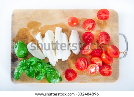 Italian mozzarella cheese with cherry tomatoes and fresh basil l