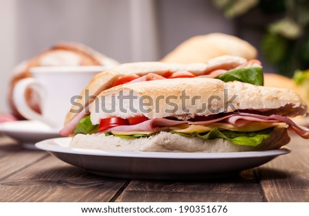 Italian panini sandwich with ham, cheese and tomato