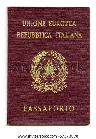 Italian passport, isolated on white background. Real photo. - stock photo
