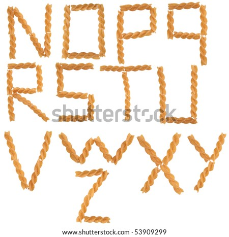 italian pasta forming font symbol from N to Z - stock photo