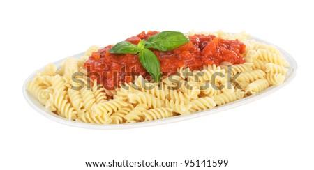 Italian pasta, fusilli with tomatoes sauce - stock photo