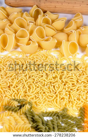 Italian Pasta in White Background.