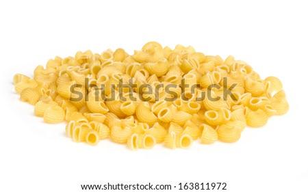 italian pasta (macaroni) isolated on white background - stock photo
