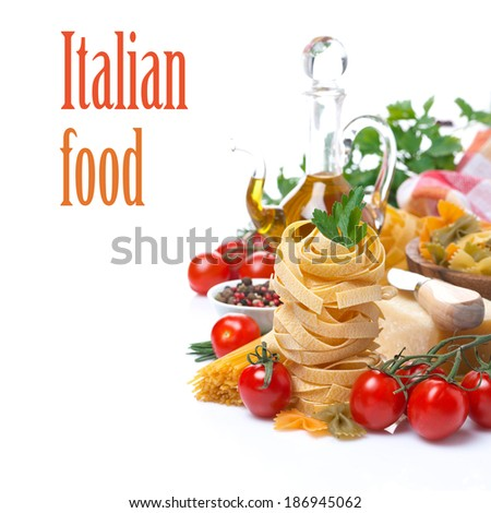 Italian pasta nest, cherry tomatoes, spices, olive oil, cheese, isolated on white - stock photo