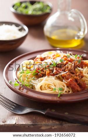 italian pasta spaghetti bolognese - stock photo