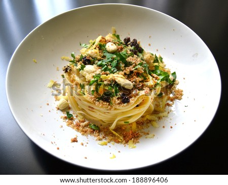 Italian pasta with bottarga seafood  - stock photo