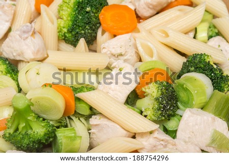 Italian Pasta With Broccoli, Carrots And Chicken Meat - stock photo