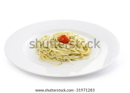italian pasta with tomato  on white background