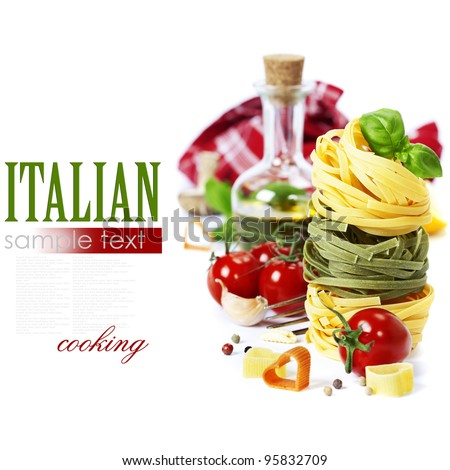 Italian Pasta with tomatoes,  olive oil and basil on a white background (with easy removable sample text) - stock photo