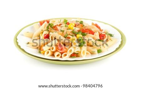 Italian pasta with vegetables - stock photo