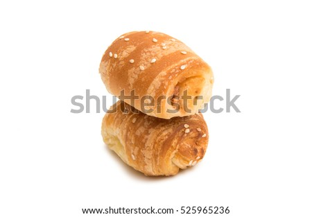 Italian pastries on a white background