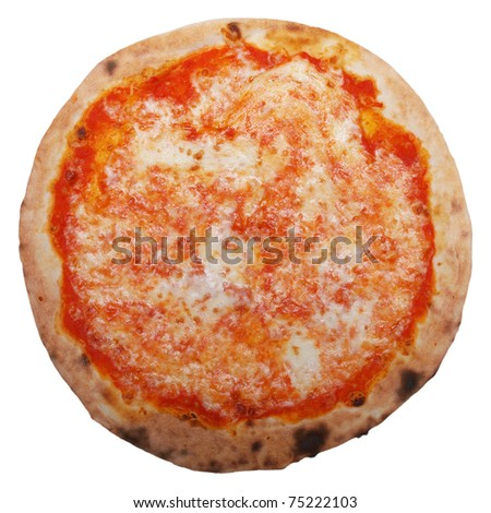 Italian Pizza Margherita (Margarita) with tomato and Mozzarella cheese - isolated over a white background - stock photo