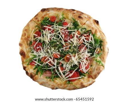 Italian pizza with uncooked fresh tomatoes, cheese and rocket, isolated on white. - stock photo
