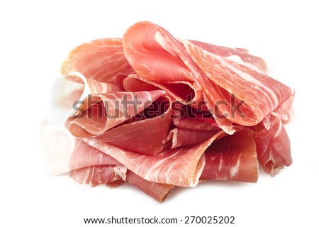 Italian prosciutto crudo ,raw ham leg sliced on white - stock photo