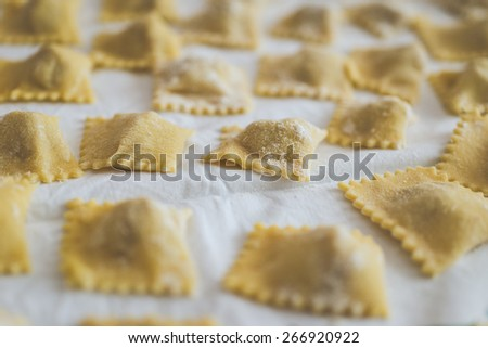 italian ravioli close up. concept about food and italy - stock photo