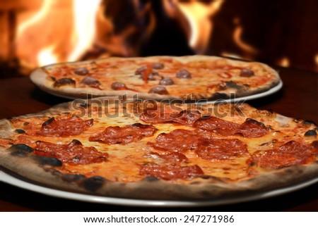 italian restaurant fresh pizza - stock photo
