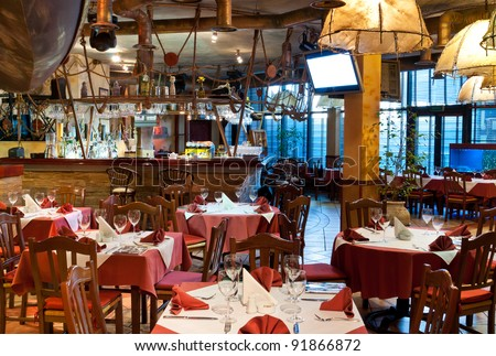 Italian restaurant with a traditional interior - stock photo