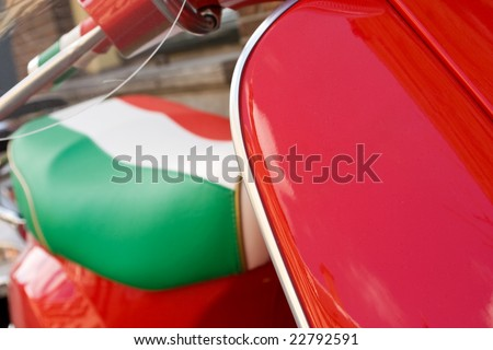 Italian retro scooter, with some space for your text. - stock photo