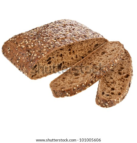 Italian rye bread with sesame seeds, flax, coriander - stock photo