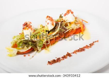 Italian salad with mozzarella - stock photo