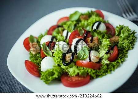 Italian salad with mozzarella pearls, tomato, crunchy croutons and lettuce drizzled with sauce or dressing, close up high angle view - stock photo