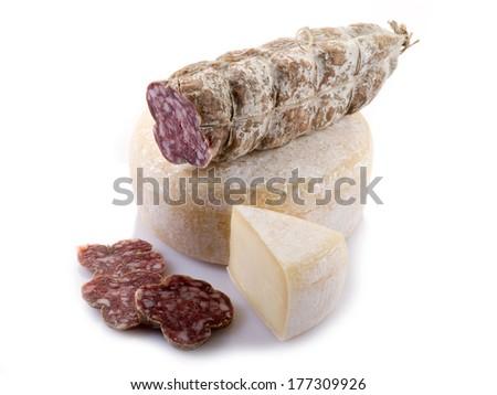italian salami and cheese on white - stock photo