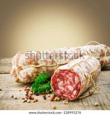 Italian salamiItalian salami - stock photo