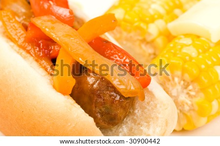 Italian Sausage and peppers on a bun - stock photo
