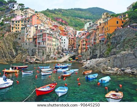 Italian seaside village of Riomaggiore in the Cinque Terre - stock photo