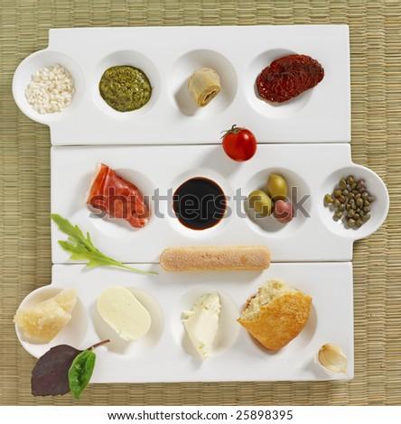 italian snacks composition - stock photo