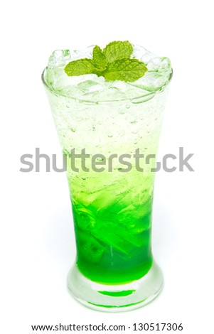 Italian Soda with mint leaf on white background - stock photo