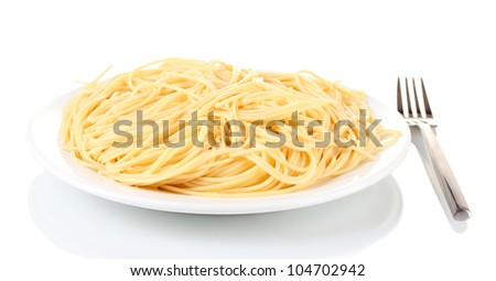 Italian spagetti cooked in a white plate with fork isolated on white - stock photo