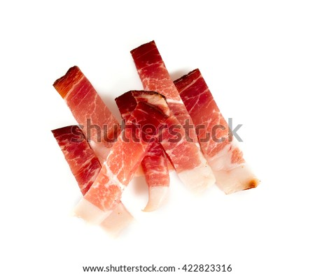 italian speck isolated on white background - stock photo