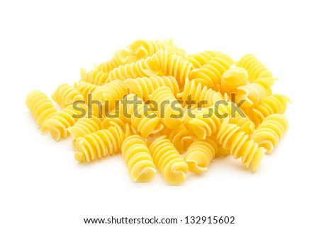 italian spiral pasta isolated on white background - stock photo