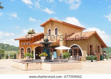 Italian Style Architecture Vintage Fountain Bright Stock Photo