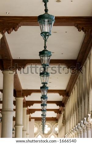 Italian Style Ceiling Lamps in a Row in Venetian , Las Vegas Nevada - stock photo