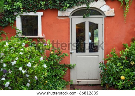 Italian style Window and Door with flower bush - stock photo